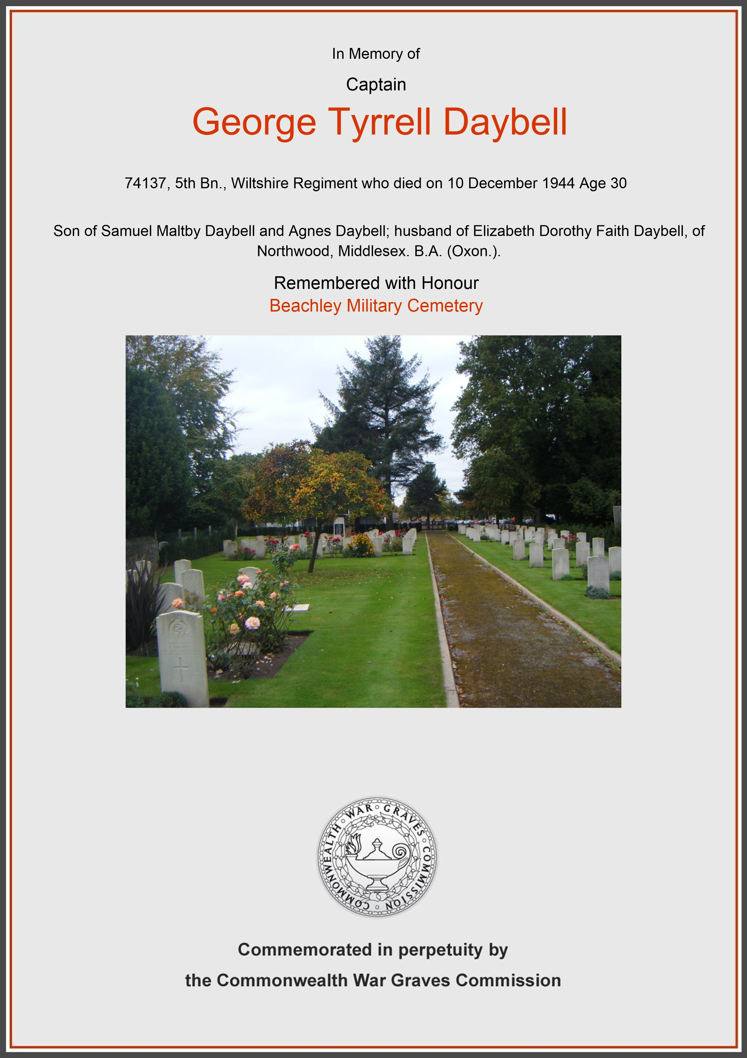Daybell, George Tyrrell, Beachley Military Cemetery (Certificate) Ref