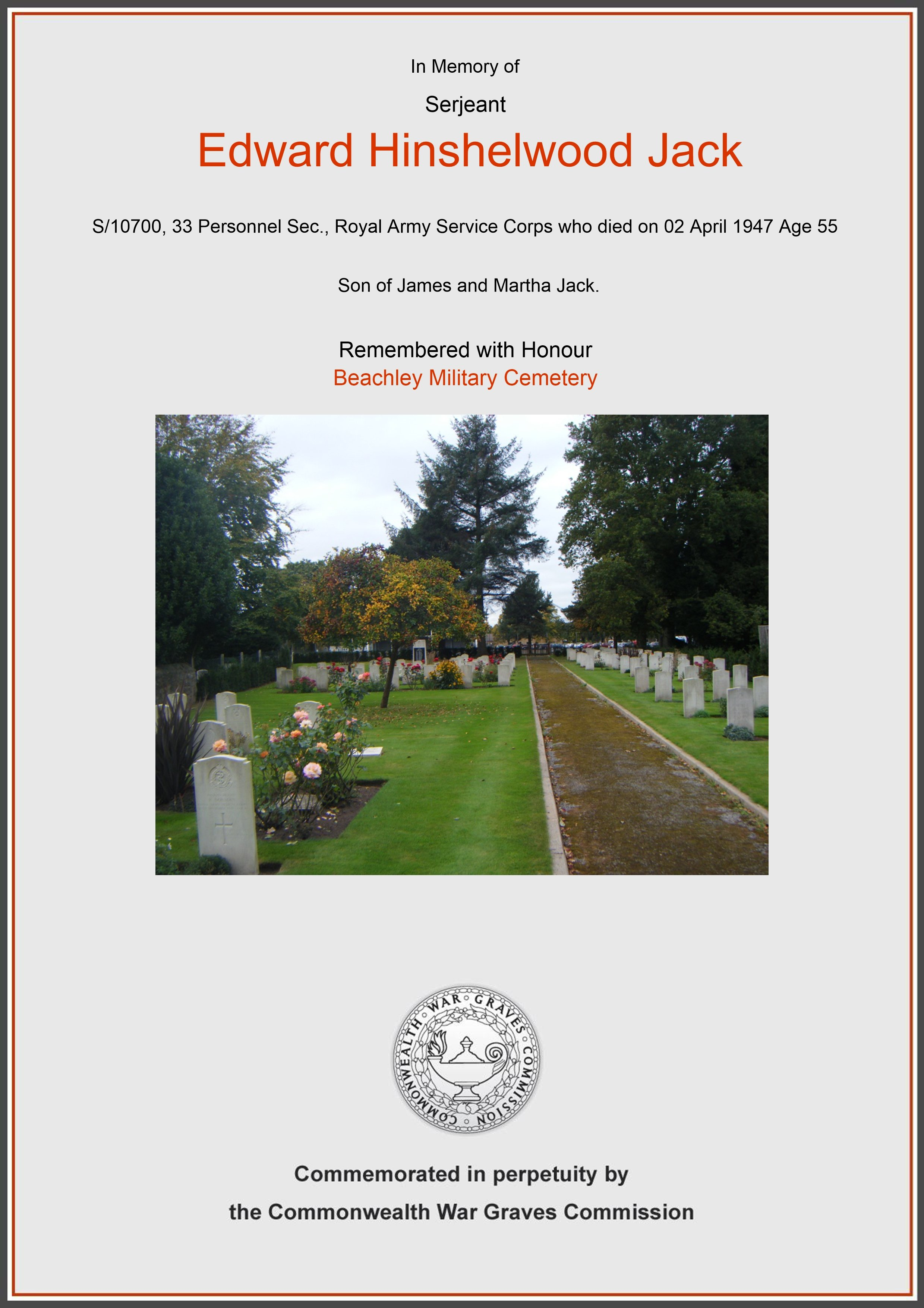 Jack, Edward Hinshelwood, Beachley Military Cemetery (Certificate) Ref