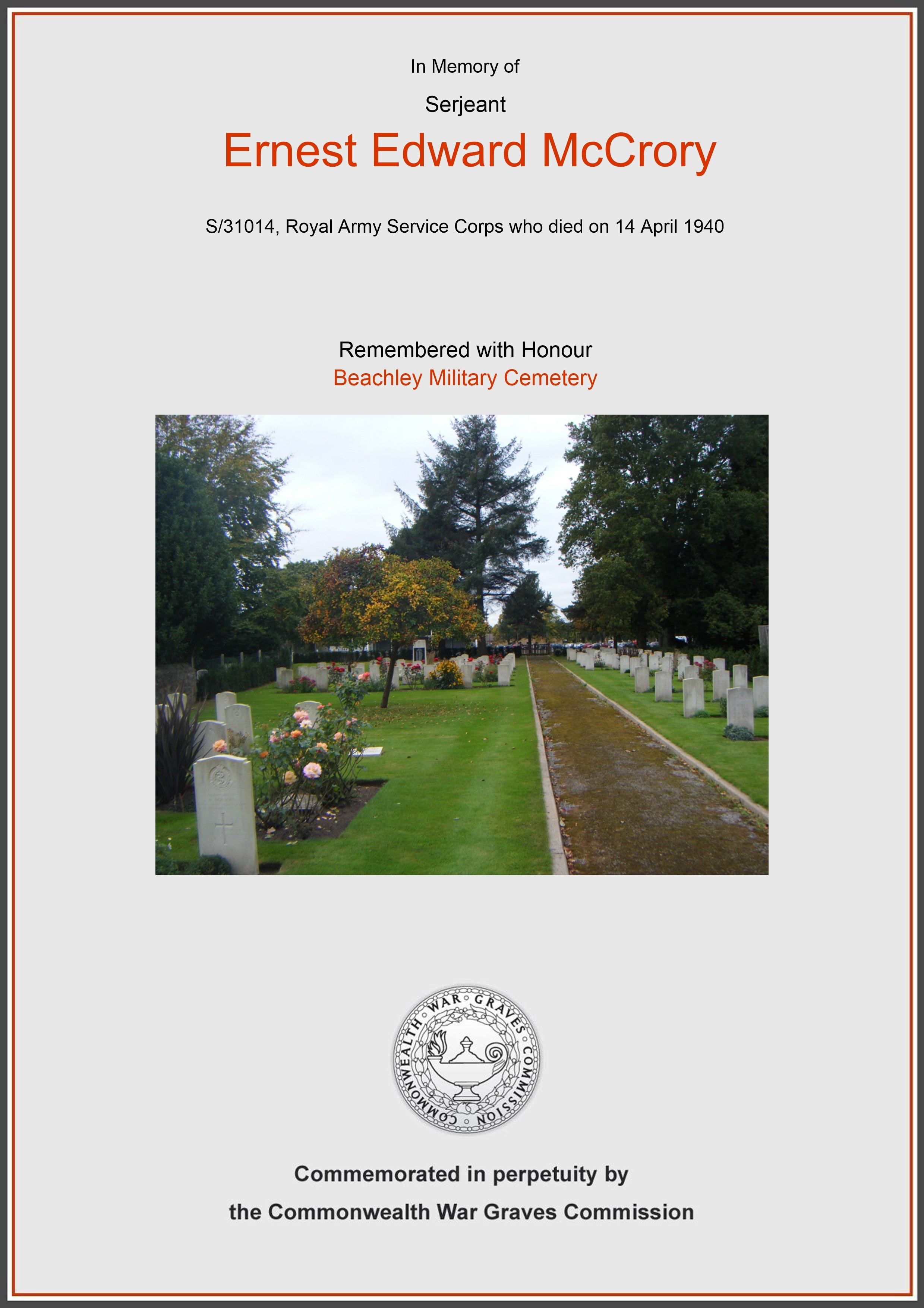 Mccrory, Ernest Edward, Beachley Military Cemetery (Certificate) Ref 6