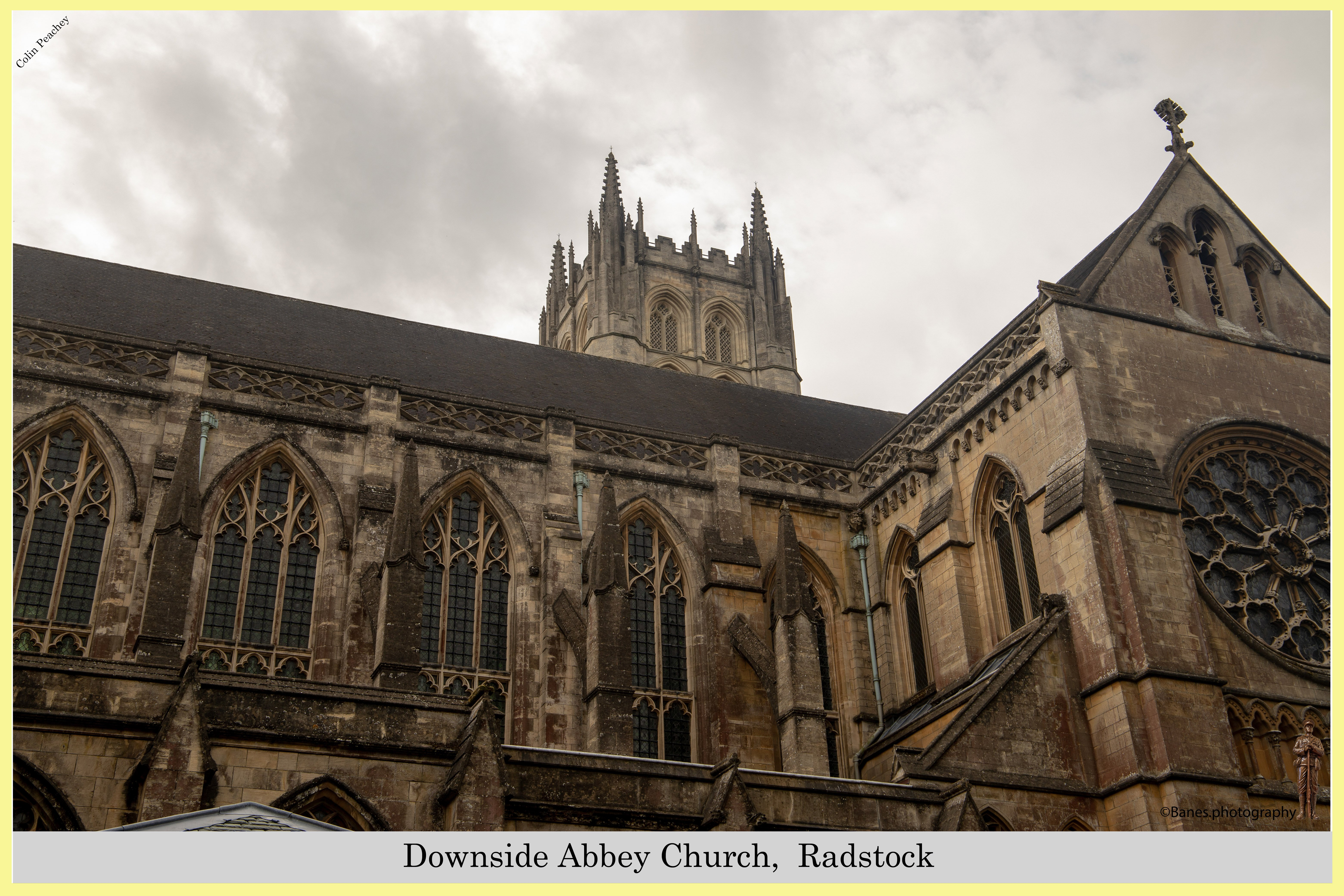 Exterior view of Downside Abbey Church,  Radstock, UK